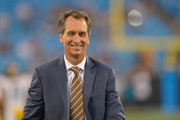CHARLOTTE, NC - SEPTEMBER 21:  NBC Sports personality Cris Collinsworth during an NBC Sunday Night Football broadcast between the Carolina Panthers abd the Pittsburgh Steelers at Bank of America Stadium on September 21, 2014 in Charlotte, North Carolina.  (Photo by Grant Halverson/Getty Images)