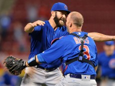 CINCINNATI, OH - APRIL 21:  Jake Arrieta #49 of the Chicago Cubs celebrates with catcher David Ross #3 of the Chicago Cubs after throwing a no-hitter against the Cincinnati Reds at Great American Ball Park on April 21, 2016 in Cincinnati, Ohio. Chicago defeated Cincinnati 16-0.  (Photo by Jamie Sabau/Getty Images)