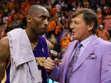 PHOENIX - MAY 29:  Kobe Bryant #24 of the Los Angeles Lakers is interviewed by Craig Sager after defeating the Phoenix Suns 111-103 in Game Six of the Western Conference Finals during the 2010 NBA Playoffs at US Airways Center on May 29, 2010 in Phoenix, Arizona. The Lakers will play the Boston Celtics in the NBA Finals. NOTE TO USER: User expressly acknowledges and agrees that, by downloading and/or using this Photograph, user is consenting to the terms and conditions of the Getty Images License Agreement.  (Photo by Christian Petersen/Getty Images)