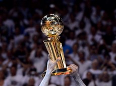 MIAMI, FL - JUNE 21:  A detail of the Larry O'Brien Championship trophy as the Miami Heat celebrate after they won 121-106 against the Oklahoma City Thunder in Game Five of the 2012 NBA Finals on June 21, 2012 at American Airlines Arena in Miami, Florida. NOTE TO USER: User expressly acknowledges and agrees that, by downloading and or using this photograph, User is consenting to the terms and conditions of the Getty Images License Agreement.  (Photo by Ronald Martinez/Getty Images)