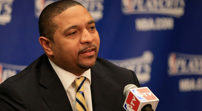 DENVER, CO - APRIL 20:  Head coach Mark Jackson of the Golden State Warriors talks to the media prior to facing the Denver Nuggets in Game One of the Western Conference Quarterfinals of the 2013 NBA Playoffs at the Pepsi Center on April 20, 2013 in Denver, Colorado. NOTE TO USER: User expressly acknowledges and agrees that, by downloading and or using this photograph, User is consenting to the terms and conditions of the Getty Images License Agreement.  (Photo by Doug Pensinger/Getty Images)