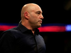 NEWARK, NJ - APRIL 18:  Commentator Joe Rogan looks on during the UFC Fight Night event at Prudential Center on April 18, 2015 in Newark, New Jersey.  (Photo by Alex Trautwig/Getty Images)