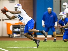 ORCHARD PARK, NY - May 18:  Sammy Watkins #14 of Buffalo Bills pulls in a pass during the Buffalo Bills rookie minicamp on May 18, 2014 at Ralph Wilson Stadium in Orchard Park, New York.  (Photo by Brett Carlsen/Getty Images)