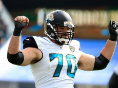 JACKSONVILLE, FL - OCTOBER 18:   Luke Bowanko #70 of the Jacksonville Jaguars celebrates a sack during the game against the Houston Texans at EverBank Field on October 18, 2015 in Jacksonville, Florida.  (Photo by Sam Greenwood/Getty Images)
