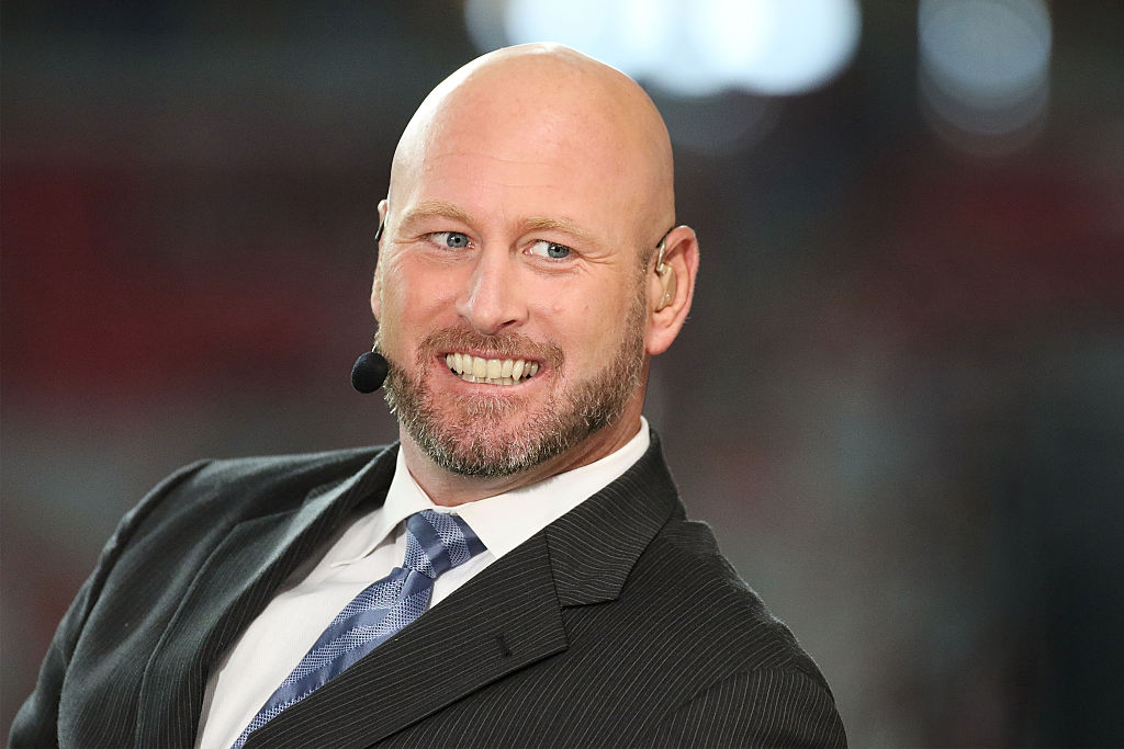 GLENDALE, AZ - OCTOBER 26: ESPN color commentator Trent Dilfer smiles during a broadcast prior to the NFL game between the Baltimore Ravens and Arizona Cardinals at University of Phoenix Stadium on October 26, 2015 in Glendale, Arizona.  (Photo by Nils Nilsen/Getty Images)