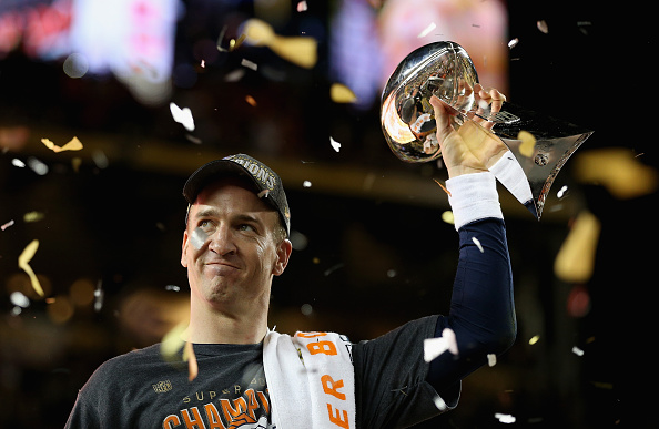 SANTA CLARA, CA - FEBRUARY 07:  Quarterback Peyton Manning #18 of the Denver Broncos holds the Vince Lombardi Trophy after winning Super Bowl 50 against the Carolina Panthers at Levi's Stadium on February 7, 2016 in Santa Clara, California.  (Photo by Patrick Smith/Getty Images)