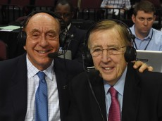 LAS VEGAS, NV - MARCH 07:  Sportscasters Dick Vitale (L) and Brent Musburger pose before broadcasting a semifinal game of the West Coast Conference Basketball tournament between the Pepperdine Waves and the Saint Mary's Gaels at the Orleans Arena on March 7, 2016 in Las Vegas, Nevada.  (Photo by Ethan Miller/Getty Images)