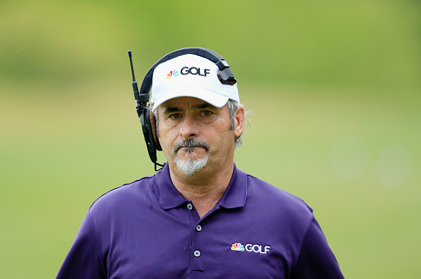 AUSTIN, TX - MARCH 27: David Feherty of Northern Ireland working as an on course commentator for NBC Television during the semifinal round of the World Golf Championships-Dell Match Play at the Austin Country Club on March 27, 2016 in Austin, Texas.  (Photo by David Cannon/Getty Images)