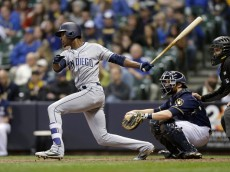 MILWAUKEE, WI - MAY 14: Melvin Upton Jr. #2 of the San Diego Padres hits a single in the eighth inning against the Milwaukee Brewers at Miller Park on May 14, 2016 in Milwaukee, Wisconsin. (Photo by Mike McGinnis/Getty Images)  *** Local Caption *** Melvin Upton Jr.