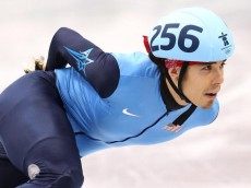 VANCOUVER, BC - FEBRUARY 24:  Apolo Anton Ohno of the United States competes in the Short Track Speed Skating Men's 500m heat on day 13 of the 2010 Vancouver Winter Olympics at Pacific Coliseum on February 24, 2010 in Vancouver, Canada.  (Photo by Jamie Squire/Getty Images)