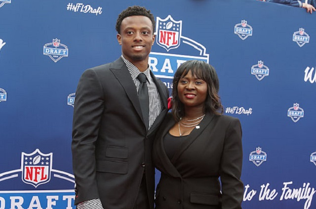 CHICAGO, IL - APRIL 28:  Draftee Eli Apple of Ohio State and his mother Annie arrive to the 2016 NFL Draft at the Auditorium Theatre of Roosevelt University on April 28, 2016 in Chicago, Illinois.  (Photo by Kena Krutsinger/Getty Images)