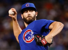 PHOENIX, AZ - APRIL 10:  Starting pitcher Jake Arrieta #49 of the Chicago Cubs pitches against the Arizona Diamondbacks during the first inning of the MLB game at Chase Field on April 10, 2016 in Phoenix, Arizona.  (Photo by Christian Petersen/Getty Images)