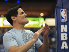DALLAS, TX - APRIL 21:  Owner, Mark Cuban before game three of the Western Conference Quarterfinals of the 2016 NBA Playoffs at American Airlines Center on April 21, 2016 in Dallas, Texas.  (Photo by Ronald Martinez/Getty Images)