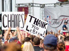 CLEVELAND, OH -  JUNE 20: Fans greet the Cleveland Cavaliers players return to Cleveland after wining the NBA Championships on June 20, 2016 in Cleveland, Ohio. (Photo by Jason Miller/Getty Images)  *** Local Caption ***