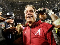 GLENDALE, AZ - JANUARY 11:  Head coach Nick Saban of the Alabama Crimson Tide celebrates after defeating the Clemson Tigers in the 2016 College Football Playoff National Championship Game at University of Phoenix Stadium on January 11, 2016 in Glendale, Arizona.  The Crimson Tide defeated the Tigers with a score of 45 to 40.  (Photo by Christian Petersen/Getty Images)