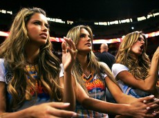 MIAMI - NOVEMBER 9:  Victoria's Secret Models (L-R)  Adriana Lima, Alessandra Ambrosio, and Gisele Bundchen watch the game between the Miami Heat and the Washington Wizards on November 9, 2004 at American Airlines Arena in Miami, Florida.  NOTE TO USER: User expressly acknowledges and agrees that, by downloading and/or using this Photograph, User is consenting to the terms and conditions of the Getty Images License Agreement  (Photo by Jamie Squire/Getty Images)