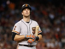 PHOENIX, AZ - JULY 03:  Buster Posey #28 of the San Francisco Giants reacts as he bats against the Arizona Diamondbacks during the second inning of the MLB game at Chase Field on July 3, 2016 in Phoenix, Arizona.  (Photo by Christian Petersen/Getty Images)
