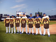 CHICAGO, IL - JULY 7: (L-R) Chicago Cubs National League All Stars, Ben Zobrist #18, Addison Russell #27, Dexter Fowler #24, Kris Bryant #17, Jake Arrieta #49, Jon Lester #34 and Anthony Rizzo #44 pose for a photo with their All Star jersey's before the game against the Atlanta Braves on July 7, 2016 at Wrigley Field in Chicago, Illinois. (Photo by David Banks/Getty Images)