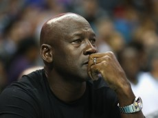 CHARLOTTE, NC - NOVEMBER 01:  Owner of the Charlotte Hornets, Michael Jordan, watches on during their game against the Atlanta Hawks at Time Warner Cable Arena on November 1, 2015 in Charlotte, North Carolina. NOTE TO USER: User expressly acknowledges and agrees that, by downloading and or using this photograph, User is consenting to the terms and conditions of the Getty Images License Agreement.  (Photo by Streeter Lecka/Getty Images)