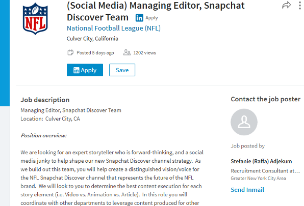 NFL to hire an editor team for Snapchat Discover channel – Managing Editor Job Description