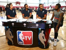 LAS VEGAS, NV - JULY 19: Kyrie Irving #10 of the USA Basketball Men's National Team speaks to NBA TV during practice on July 19, 2016 at Mendenhall Center on the University of Nevada, Las Vegas campus in Las Vegas, Nevada. NOTE TO USER: User expressly acknowledges and agrees that, by downloading and or using this photograph, User is consenting to the terms and conditions of the Getty Images License Agreement. Mandatory Copyright Notice: Copyright 2016 NBAE (Photo by Nathaniel S. Butler/NBAE via Getty Images)