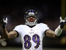NEW ORLEANS, LA - NOVEMBER 24:  Steve Smith #89 of the Baltimore Ravens reacts to a catch during the second quarter of a game against the New Orleans Saints at the Mercedes-Benz Superdome on November 24, 2014 in New Orleans, Louisiana.  (Photo by Chris Graythen/Getty Images)