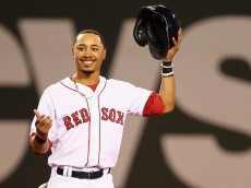 BOSTON, MA - SEPTEMBER 09:  Mookie Betts #50 of the Boston Red Sox looks on from second during the third inning at Fenway Park on September 9, 2015 in Boston, Massachusetts.  (Photo by Maddie Meyer/Getty Images)