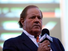 KANSAS CITY, MO - OCTOBER 28:  Broadcaster Chris Berman of ESPN is seen on the field before Game Two of the 2015 World Series between the Kansas City Royals and the New York Mets at Kauffman Stadium on October 28, 2015 in Kansas City, Missouri.  (Photo by Tim Bradbury/Getty Images)