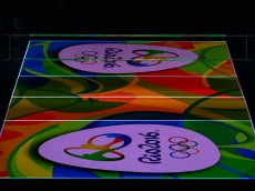 RIO DE JANEIRO, BRAZIL - AUGUST 09:  Logo of Rio2016 appears in court before the men's qualifying volleyball match between the United States and Italy on Day 4 of the Rio 2016 Olympic Games at the Maracanazinho on August 9, 2016 in Rio de Janeiro, Brazil.  (Photo by Buda Mendes/Getty Images)