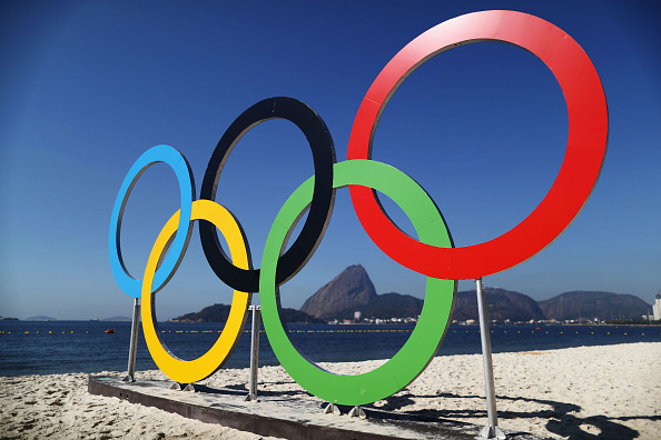 RIO DE JANEIRO, BRAZIL - AUGUST 14:  The Olympic Rings are seen on local beach on Day 9 of the Rio 2016 Olympic Games at the Marina da Gloria on August 14, 2016 in Rio de Janeiro, Brazil.  (Photo by Clive Mason/Getty Images)