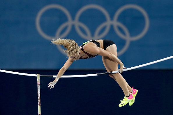RIO DE JANEIRO, BRAZIL - AUGUST 19:  Kelsie Ahbe of Canada competes in the Women's Pole Vault Final on Day 14 of the Rio 2016 Olympic Games at the Olympic Stadium on August 19, 2016 in Rio de Janeiro, Brazil.  (Photo by Alexander Hassenstein/Getty Images)