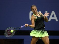 NEW YORK, NY - AUGUST 29:  Madison Keys plays a forehand against Alison Riske on Day One of the 2016 US Open at the USTA Billie Jean King National Tennis Center on August 29, 2016 in the Flushing neighborhood of the Queens borough of New York City.  (Photo by Al Bello/Getty Images)
