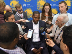 OAKLAND, CA - JULY 07:  Kevin Durant speaks to the media during the press conference where he was introduced as a member of the Golden State Warriors after they signed him as a free agent on July 7, 2016 in Oakland, California.  (Photo by Thearon W. Henderson/Getty Images)