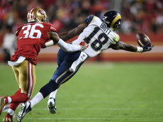 SANTA CLARA, CA - SEPTEMBER 12:  Kenny Britt #18 of the Los Angeles Rams makes a catch against the San Francisco 49ers during their NFL game at Levi's Stadium on September 12, 2016 in Santa Clara, California.  (Photo by Thearon W. Henderson/Getty Images)