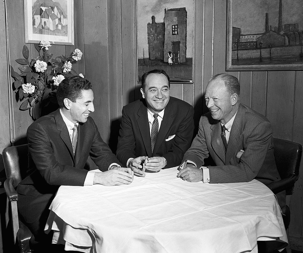 NEW YORK - 1952:  (L to R) Announcers Phil Rizzuto, Mel Allen and Red Barber, of the New York Yankees, pose for a group portrait in 1959 in New York, New York. (Photo by:  Olen Collection/Diamond Images/Getty Images)