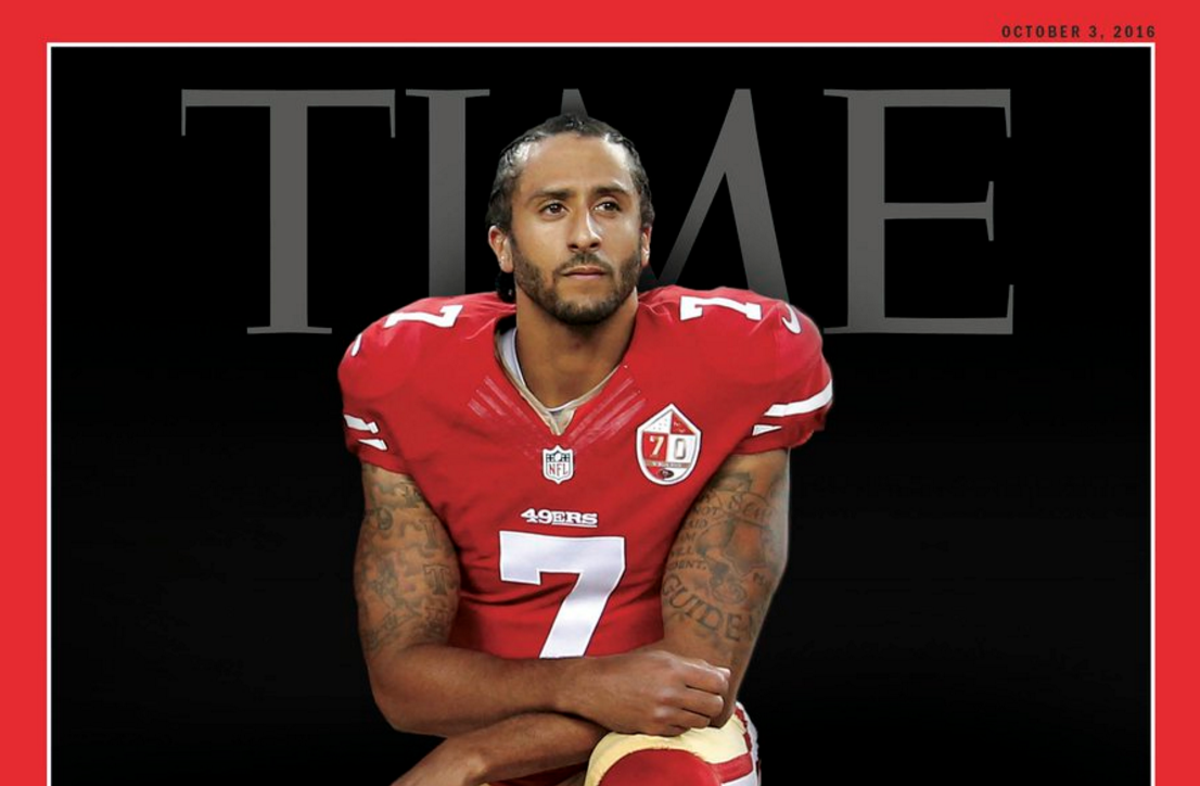 'Time' Magazine Puts Kneeling Colin Kaepernick On Its Cover