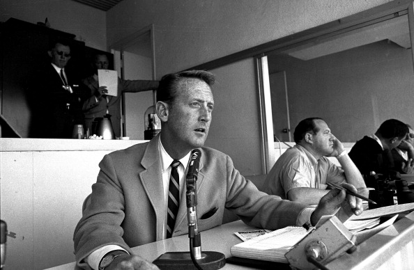 Baseball: View of Los Angeles Dodgers announcer Vin Scully in broadcast booth during game at Dodger Stadium. Los Angeles, CA 4/16/1964 CREDIT: Phil Bath (Photo by Phil Bath /Sports Illustrated/Getty Images) (Set Number: X9941 )