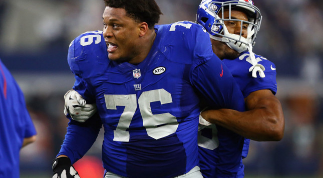 Giants' Ereck Flowers goes out of his way to shove ESPN reporter