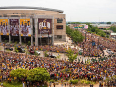 CLEVELAND, OH - JUNE 22: Cleveland fans celebrate during the Cleveland Cavaliers 2016 NBA Championship victory parade and rally on June 22, 2016 in Cleveland, Ohio. The Cavaliers defeated the Golden State Warriors to bring the first professional sports championship to the city of Cleveland since 1964. (Photo by Angelo Merendino/Getty Images)
