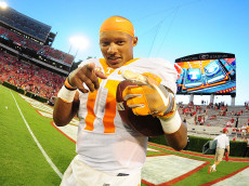 ATHENS, GA - OCTOBER 1: Joshua Dobbs #11 of the Tennessee Volunteers celebrates after the game against the Georgia Bulldogs at Sanford Stadium on October 1, 2016 in Athens, Georgia. (Photo by Scott Cunningham/Getty Images)