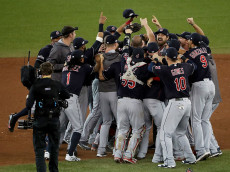 TORONTO, ON - OCTOBER 19:  The Cleveland Indians celebrate after defeating the Toronto Blue Jays with a score of 3 to 0 in game five of the American League Championship Series at Rogers Centre on October 19, 2016 in Toronto, Canada.  (Photo by Tom Szczerbowski/Getty Images)