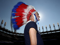 CLEVELAND, OH - OCTOBER 15:  A Cleveland Indians fan looks on prior to game two of the American League Championship Series between the Toronto Blue Jays and the Cleveland Indians at Progressive Field on October 15, 2016 in Cleveland, Ohio.  (Photo by Maddie Meyer/Getty Images)