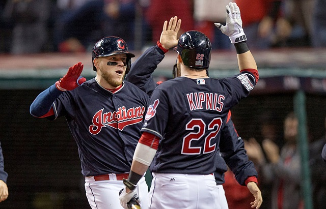 25 October 2016: Cleveland Indians Catcher Roberto Perez (55) is greeted by Cleveland Indians Second base Jason Kipnis (22) after hitting a home run during the fourth inning of the 2016 World Series Game 1 between the Chicago Cubs and Cleveland Indians at Progressive Field in Cleveland, OH. Cleveland defeated Chicago 6-0. (Photo by Frank Jansky/Icon Sportswire via Getty Images)