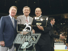 31 Jan 1998:  Sports announcers Bob Miller (right) for the Los Angeles Kings, Chick Hearn (middle) for the Los Angeles Lakers and Vin Scully (left) for the Los Angeles Dodgers during a 25th year celebration at the Great Western Forum in Inglewood, Califor