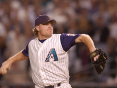4 Nov 2001: Curt Schilling #38 of the Arizona Diamondbacks delivers in the top of the first inning against the New York Yankees during game seven of the Major League Baseball World Series at Bank One Ballpark in Phoenix, Arizona. The Diamondbacks won 3-2 to capture the World Series title. DIGITAL IMAGE. Mandatory Credit: Harry How/ALLSPORT