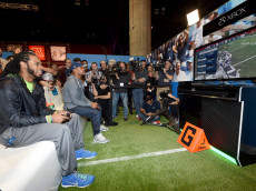 PHOENIX, AZ - JANUARY 27:  Seattle Seahawks cornerback Richard Sherman (L) and New England Patriots running back Shane Vereen square off in 'Madden NFL 15' for Microsoft's Game Before the Game on Xbox One Super Bowl Edition at the Phoenix Convention Center on January 27, 2015 in Phoenix, Arizona.  (Photo by Ethan Miller/Getty Images for Microsoft)