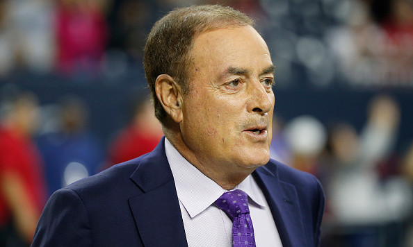 HOUSTON, TX - DECEMBER 13: Television announcer Al Michaels watches the Houston Texans warm up before the Texans play the New England Patriots on December 13, 2015 at NRG Stadium in Houston, Texas. (Photo by Scott Halleran/Getty Images)