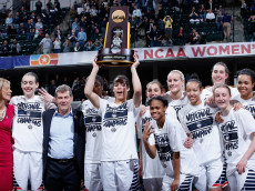 INDIANAPOLIS, IN - APRIL 05:  The Connecticut Huskies celebrate with the trophy after their 82-51 victory over the Syracuse Orange to win the championship game of the 2016 NCAA Women's Final Four Basketball Championship at Bankers Life Fieldhouse on April 5, 2016 in Indianapolis, Indiana. (Photo by Joe Robbins/Getty Images)