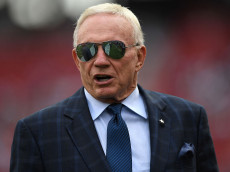 SANTA CLARA, CA - OCTOBER 02:   Dallas Cowboys owner Jerry Jones is seen on the field prior to the game against the San Francisco 49ers at Levi's Stadium on October 2, 2016 in Santa Clara, California. (Photo by Thearon W. Henderson/Getty Images)