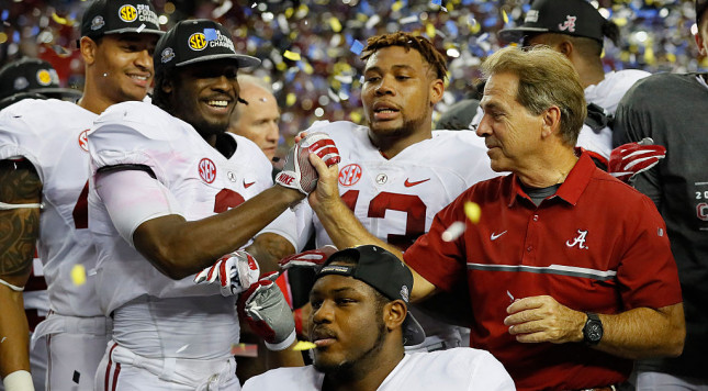 ATLANTA, GA - DECEMBER 03:  Head coach Nick Saban of the Alabama Crimson Tide celebrates with his team after their 54 to 16 win over the Florida Gators in the SEC Championship game at the Georgia Dome on December 3, 2016 in Atlanta, Georgia.  (Photo by Kevin C. Cox/Getty Images)